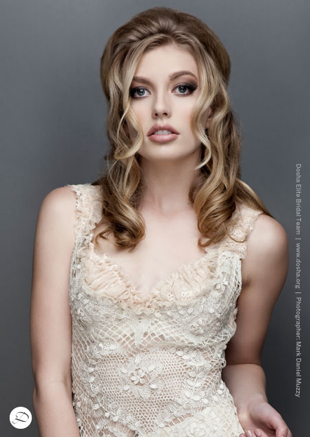 Dirty blonde, half up half down hair, dosha model
